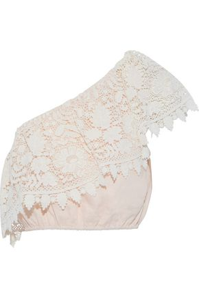 MIGUELINA Cropped one-shoulder guipure lace and linen top
