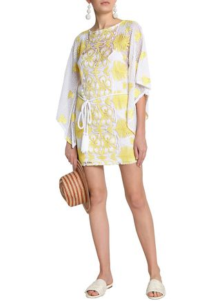 MIGUELINA Claudia belted crocheted cotton coverup