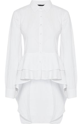 W118 by WALTER BAKER Asymmetric tie-front checked cotton top