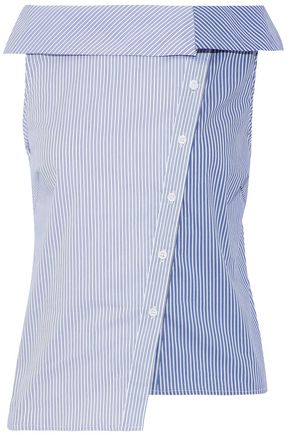 W118 by WALTER BAKER Alexandra paneled striped cotton-blend poplin shirt