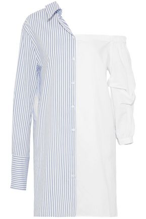 W118 by WALTER BAKER Ally asymmetric striped-paneled cotton-blend poplin shirt