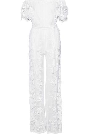 MIGUELINA Brisa off-the-shoulder cotton guipure lace jumpsuit