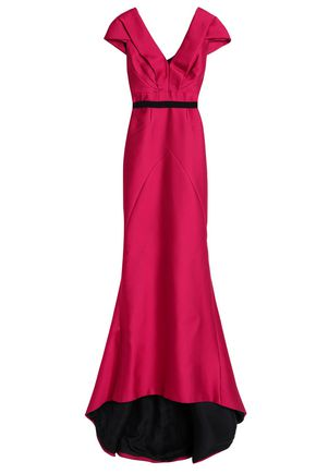 J.MENDEL Woven-trimmed gathered duchesse-satin gown
