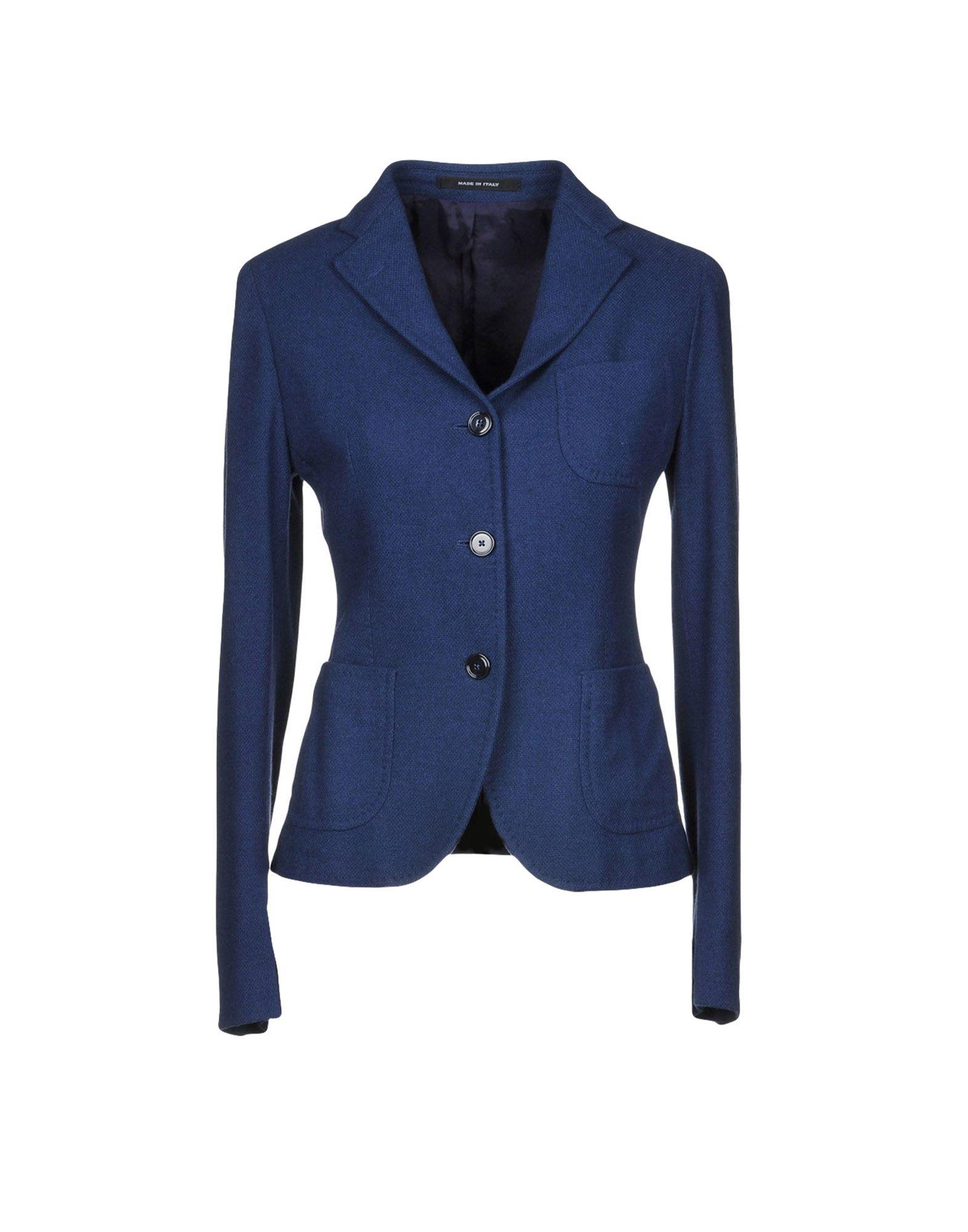 《送料無料》TAGLIATORE 02-05 レディース テーラードジャケット ブルー 40 バージンウール 45% / コットン 45% / ナイロン 10%