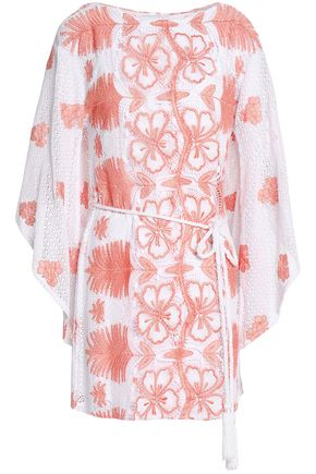 MIGUELINA Belted cotton guipure lace kaftan
