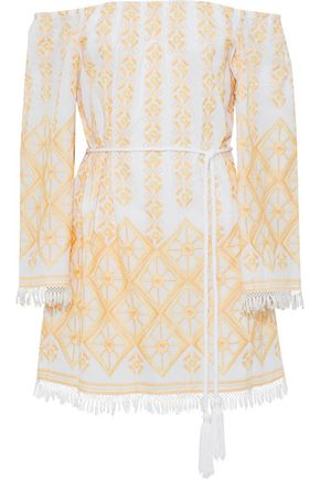 MIGUELINA Brinley off-the-shoulder embroidered cotton coverup