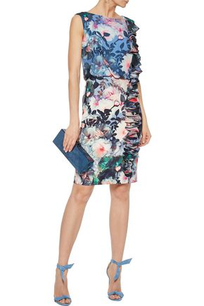 BADGLEY MISCHKA Ruffled floral-print chiffon and cady dress
