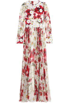 DOLCE & GABBANA Floral-appliquéd floral-print silk-chiffon gown