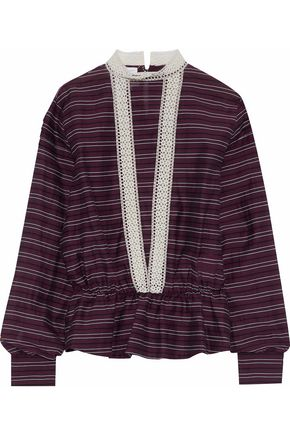 STELLA JEAN Crochet-trimmed striped cotton and silk-blend top