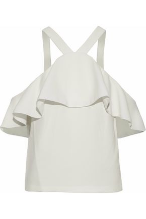RACHEL ZOE Zuma cold-shoulder ruffled crepe blouse