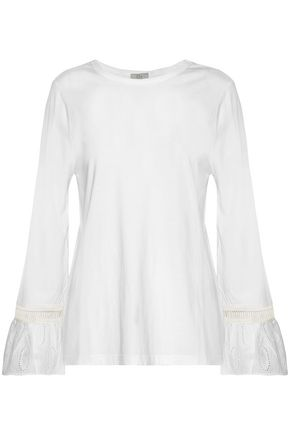 CLU Ruffled broderie anglaise-paneled jersey top