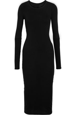 ENZA COSTA Twist-back cotton and cashmere-blend midi dress