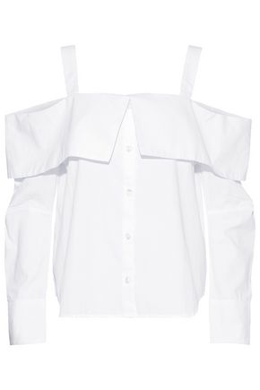 CLU Cold-shoulder cotton-poplin shirt