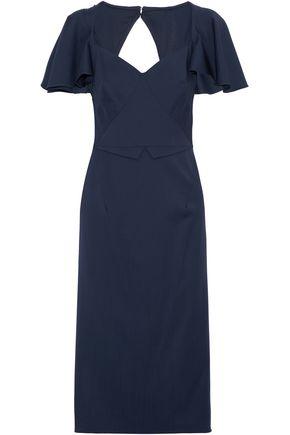 ZAC POSEN Cutout wool-crepe dress