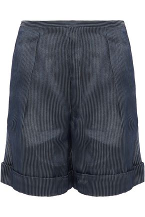GIORGIO ARMANI Pleated embroidered organza shorts