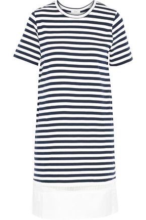 CLU Poplin-paneled striped cotton-jersey dress