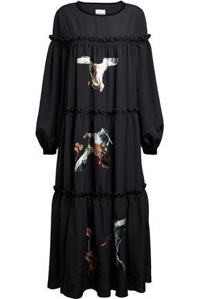 STELLA JEAN Ruffle-trimmed appliquéd embroidered crepe midi dress