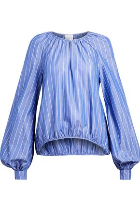 STELLA JEAN Gathered striped cotton-poplin blouse