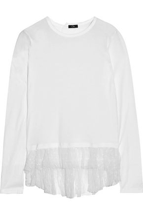 CLU Ruffled point d'esprit-paneled cotton and modal-blend top