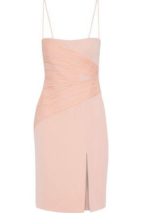 VERSACE Asymmetric ruched chiffon-paneled silk-crepe dress