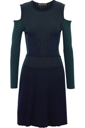 VERSACE Cold-shoulder ribbed two-tone wool-blend dress