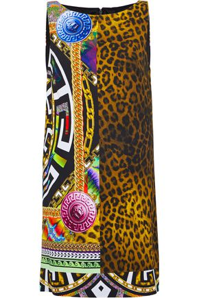 VERSACE Printed crepe mini dress