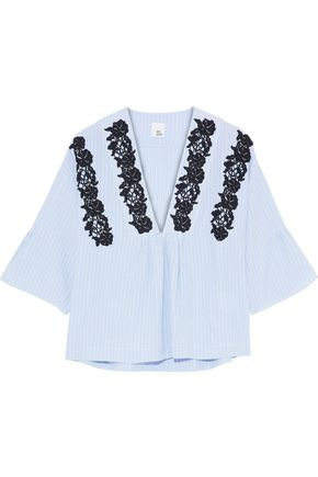 IRIS & INK Perry lace-appliquéd striped cotton-poplin top