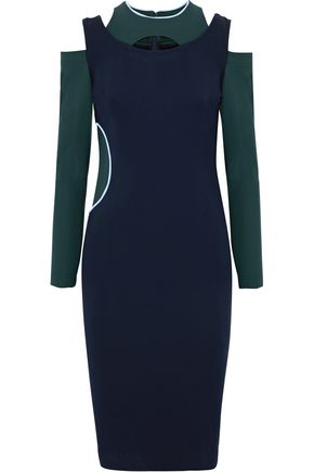 VERSACE Cutout two-tone stretch-ponte dress