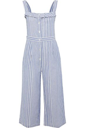 IRIS & INK Susie cropped striped cotton and linen-blend jumpsuit