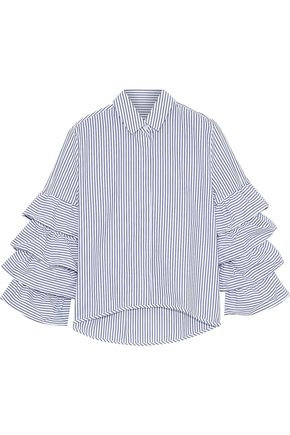 IRIS & INK Stina ruffled striped cotton-poplin shirt