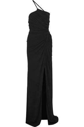 VERSACE One-shoulder embellished ruched jersey gown