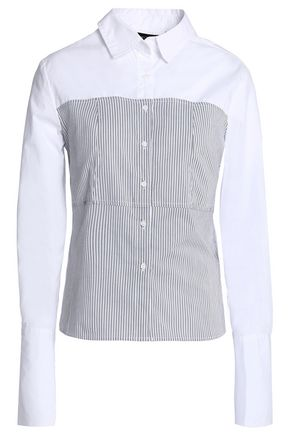 W118 by WALTER BAKER Striped paneled cotton-poplin shirt