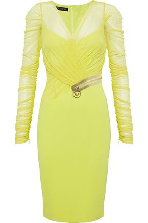 VERSACE Crystal-embellished ruched mesh and crepe dress