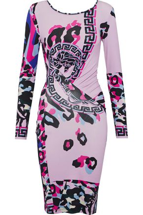 VERSACE Ruched printed jersey dress