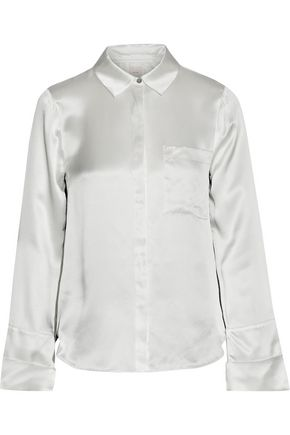 CINQ À SEPT Korlan lace-trimmed silk-satin shirt
