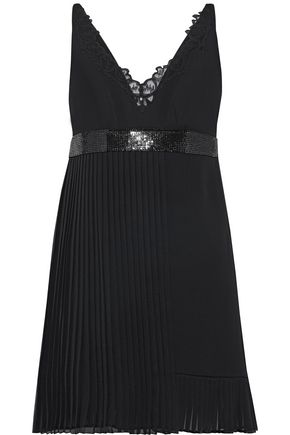 VERSACE Lace-trimmed embellished pleated silk-crepe mini dress