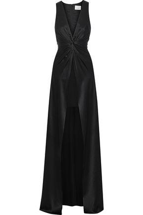 CINQ À SEPT Elio split-front twisted silk-satin gown