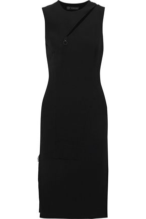 VERSACE Zip-detailed cutout crepe dress