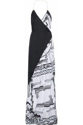 VERSUS VERSACE Printed satin wrap gown