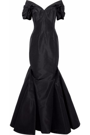 ZAC POSEN Off-the-shoulder fluted pleated silk-faille gown