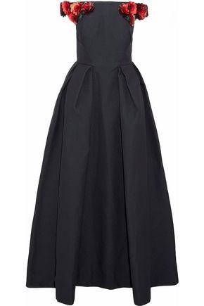 ZAC POSEN Off-the-shoulder floral-appliquéd cloqué gown