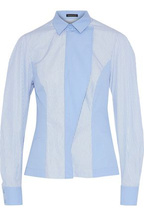VERSACE Paneled striped cotton shirt