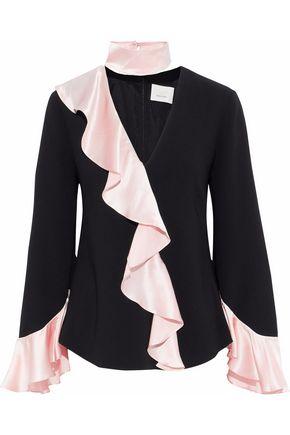 CINQ À SEPT Mariah ruffled silk satin-trimmed crepe blouse