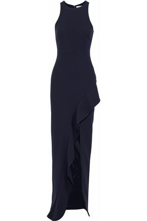 WOMAN PIPER RUFFLED CREPE GOWN NAVY