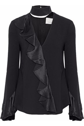 CINQ À SEPT Mariah ruffled satin-trimmed cutout crepe top