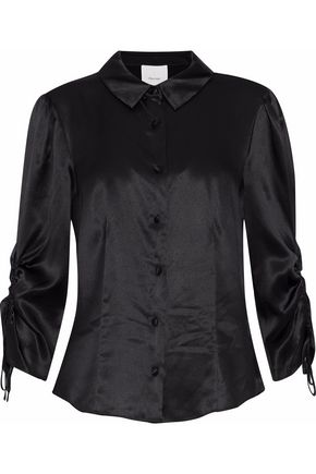 CINQ À SEPT Jolene ruched silk-satin shirt