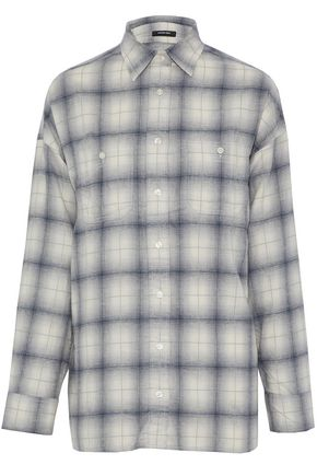 R13 Open-back checked cotton-flannel shirt
