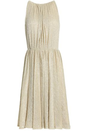 HALSTON HERITAGE Pleated metallic woven dress