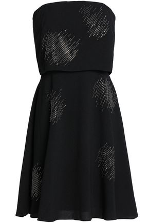 HALSTON HERITAGE Strapless crystal-embellished crepe dress