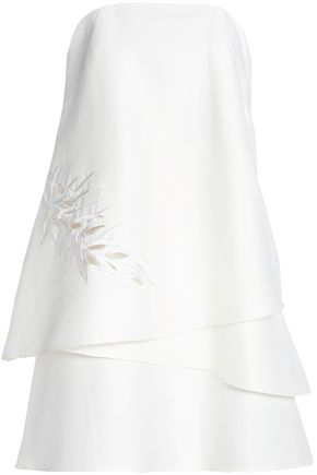 HALSTON HERITAGE Strapless embroidered cotton and silk-blend mini dress